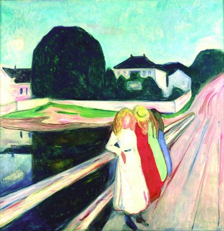 Edvard Munch, Vier Mädchen auf der Brücke, 1905